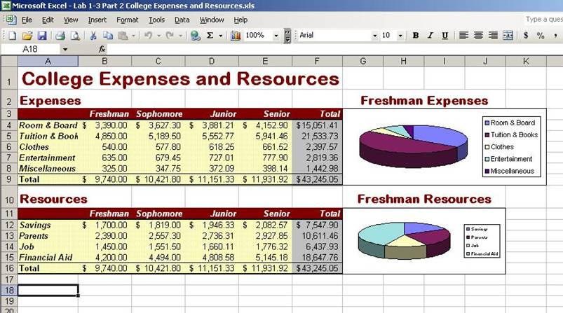 college expense worksheet